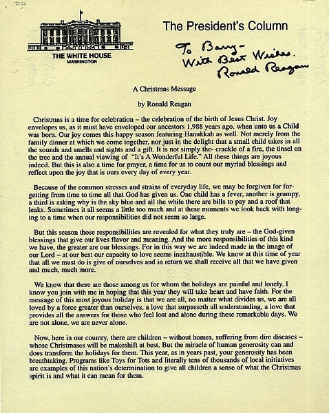 DOCUMENT SIGNED (DS): A CHRISTMAS MESSAGE. Ronald REAGAN.