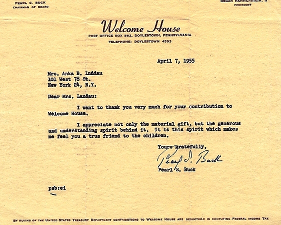 TYPED LETTER SIGNED (TLS). Pearl BUCK.