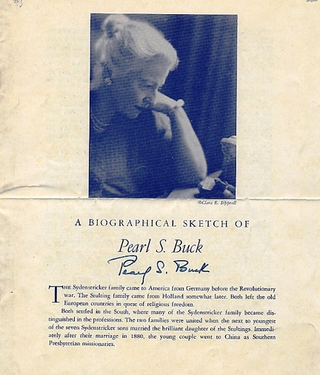 DOCUMENT SIGNED (DS). Pearl BUCK.