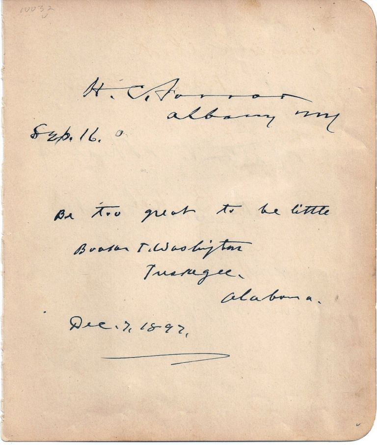 AUTOGRAPH QUOTE SIGNED (AQS). Booker T. WASHINGTON.