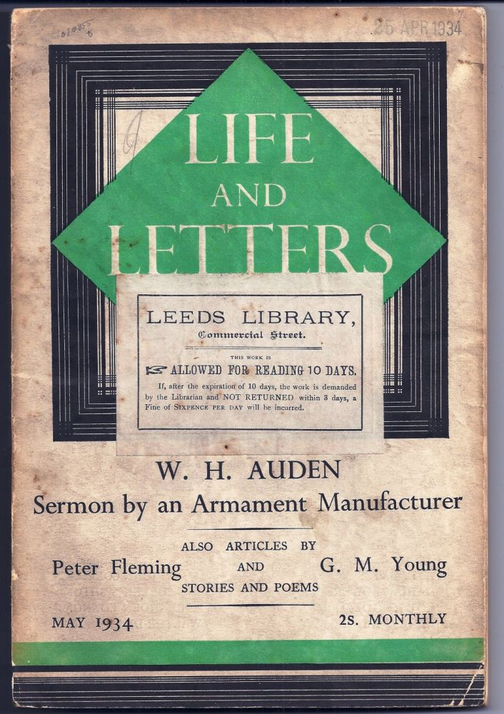 """Sermon by an Armament Manufacturer"" in LIFE AND LETTERS. W. H. AUDEN."