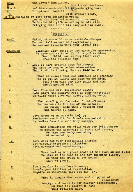 THE CHRISTMAS ORATORIO [FOR THE TIME BEING]: CARBON COPY OF A TYPED MANUSCRIPT WITH CHORAL SETTINGS. W. H. AUDEN.