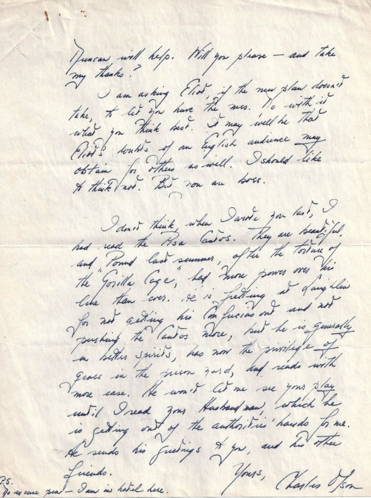 AUTOGRAPH LETTER SIGNED (ALS) TO RONALD DUNCAN REGARDING THE IMPENDING PUBLICATION OF HIS FIRST BOOK. Charles OLSON.