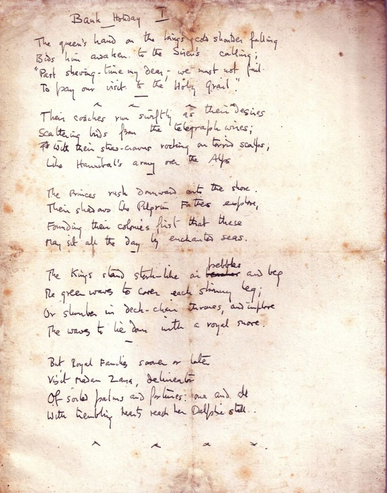 "AUTOGRAPH MANUSCRIPT POEM (Juvenilia - 4 pages): ""Bank Holiday"" W. H. AUDEN."