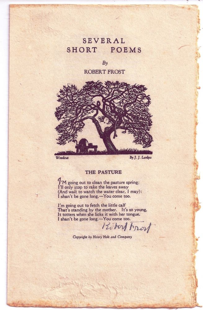 SEVERAL SHORT POEMS. Robert FROST.