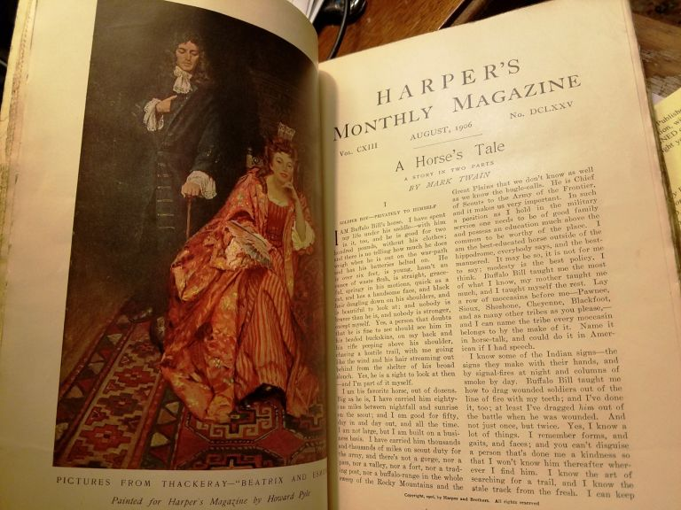 """""""A Horse's Tale"""" in HARPER'S MONTHLY, #675, August 1906. Mark TWAIN, Samuel CLEMENS."""