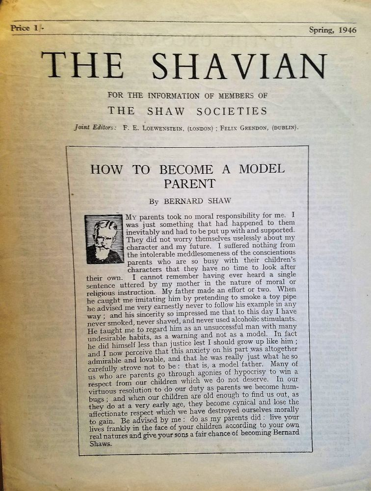 HOW TO BECOME A MODEL PARENT in THE SHAVIAN. George Bernard SHAW.