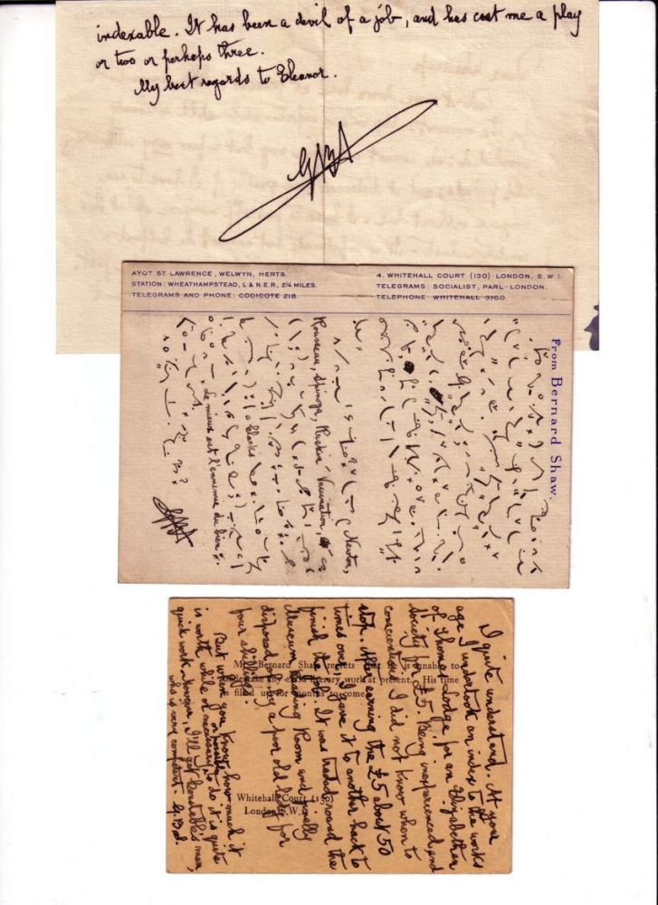 EVERYBODY'S POLITICAL WHAT'S WHAT? Manuscript Page, Page Proofs and 3 AUTOGRAPH LETTERS SIGNED (ALSs) by SHAW. George Bernard SHAW.