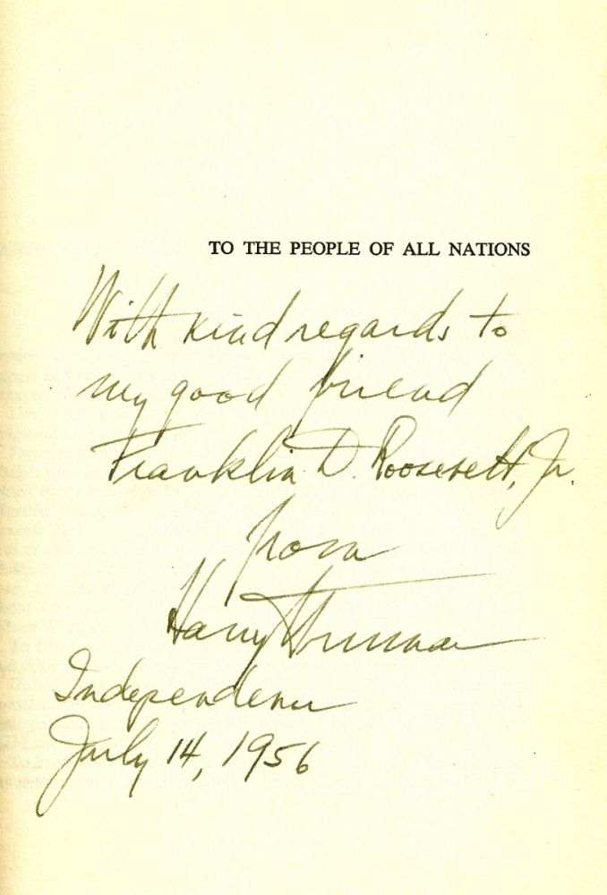 MEMOIRS. YEARS OF TRIAL AND HOPE. Inscribed to Franklin Delano Roosevelt, Jr. Harry TRUMAN.
