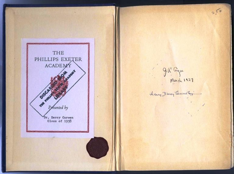 ELMER GANTRY [James Agee's copy at Phillips Exeter Academy dated March 1927]. James AGEE, Sinclair LEWIS.
