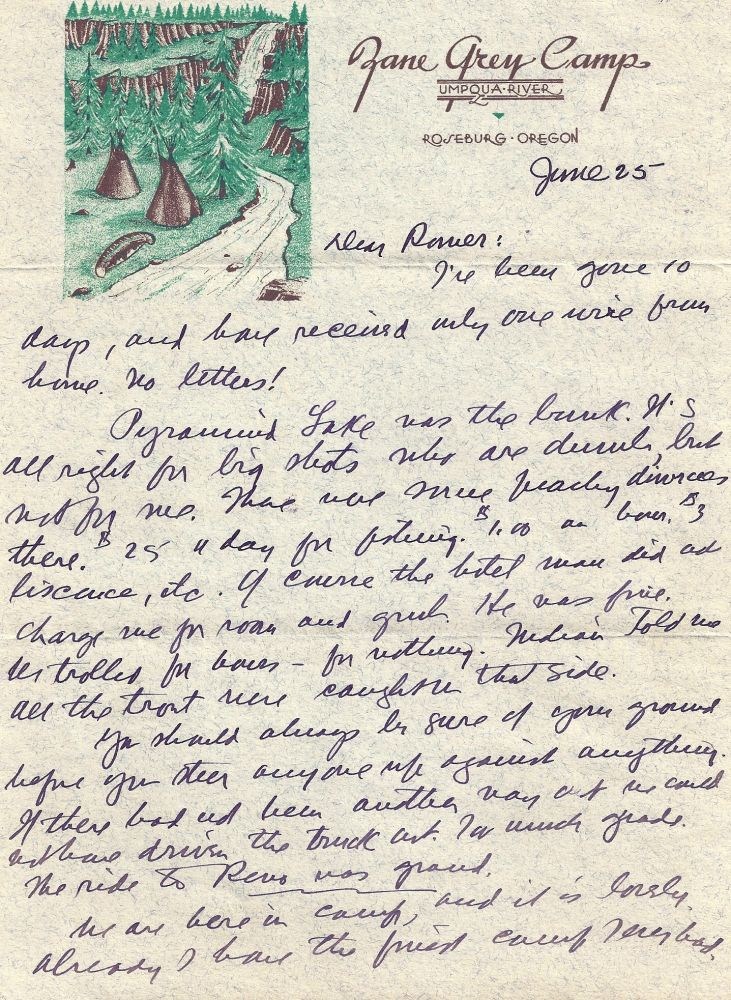 AUTOGRAPH LETTER SIGNED (ALS) to his son. Zane GREY.