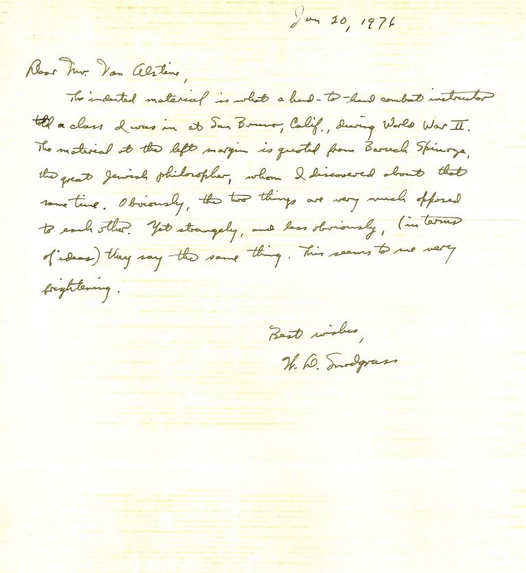 ARCHIVE of TYPED LETTER SIGNED (TLS), TWO AUTOGRAPHED LETTERS SIGNED (ALSs) and a TYPED MANUSCRIPT. W. D. SNODGRASS.