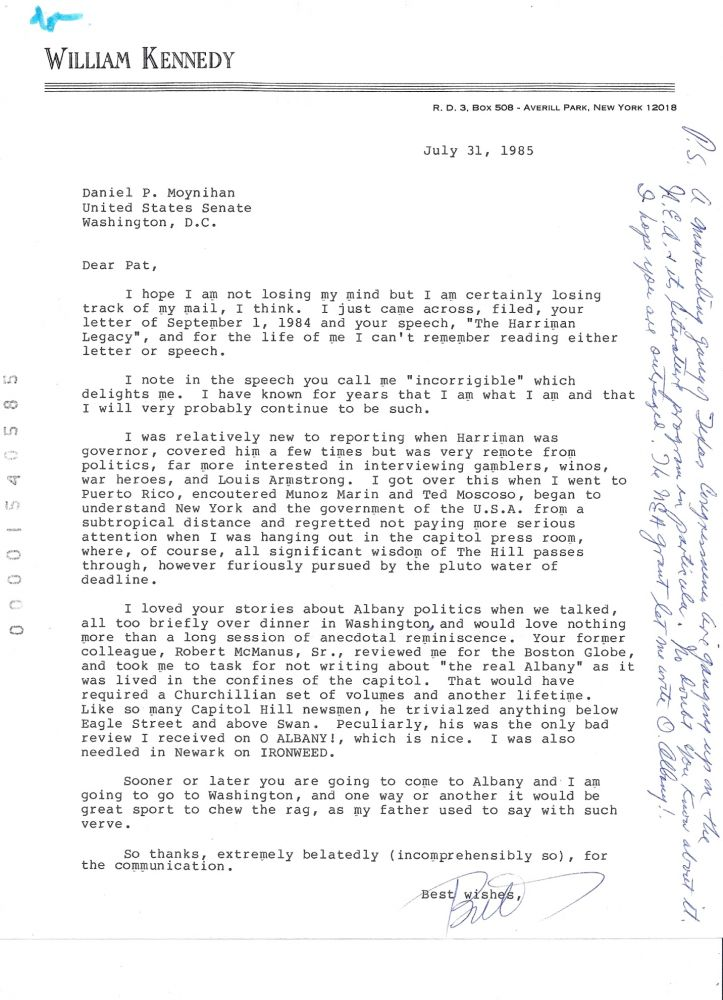 ARCHIVE consisting of 1 AUTOGRAPH LETTER SIGNED (ALS) and 4 TYPED LETTERS SIGNED (TLSs) to Senator Daniel Patrick Moynihan. William KENNEDY.