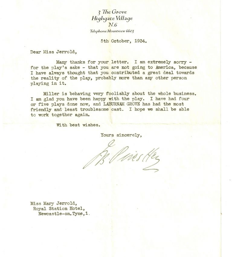 TYPED LETTER SIGNED (TLS) to actress Mary Jerrold. J. B. PRIESTLEY.
