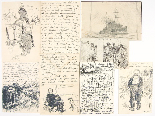 LARGE ARCHIVE OF CORRESPONDENCE WITH MANY ORIGINAL DRAWINGS all to fellow artist ARTHUR BENTLEY CONNOR. E. H. SHEPARD, Ernest Howard SHEPARD.