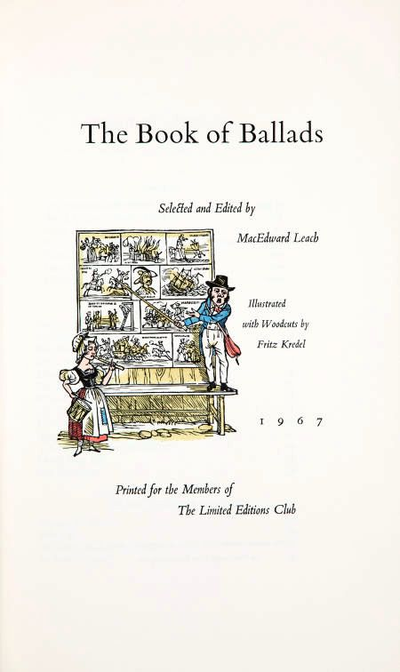 THE BOOK OF BALLADS. The Artist's Copy. Fritz KREDEL.