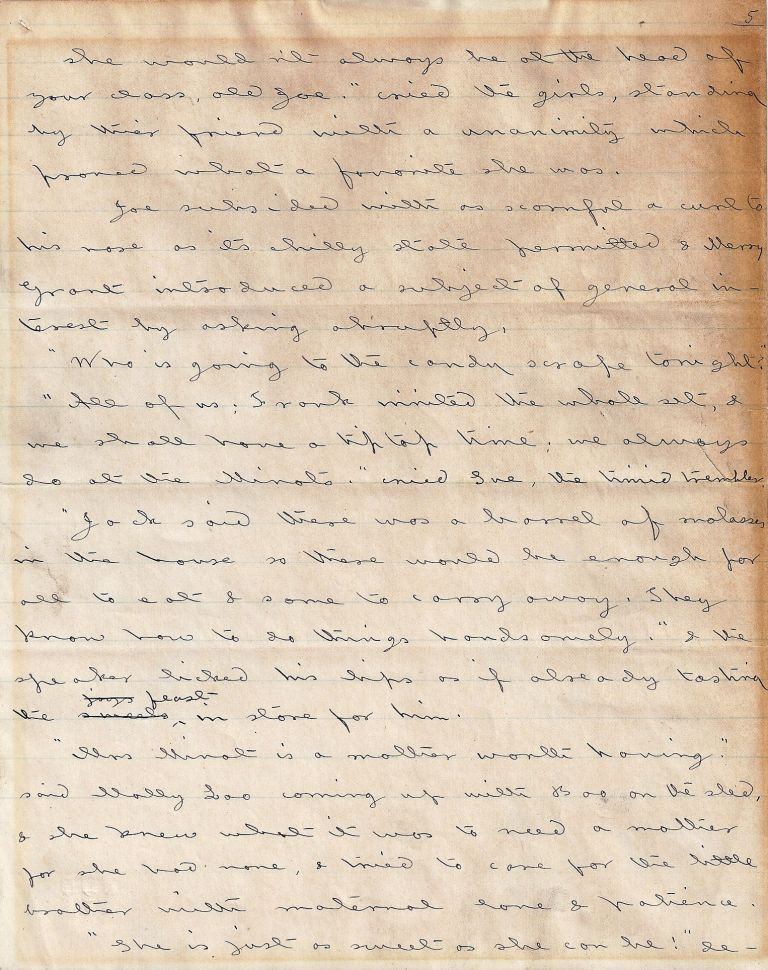 AUTOGRAPH MANUSCRIPT (AM): Two Pages from JACK AND JILL: A VILLAGE STORY. Louisa May ALCOTT.