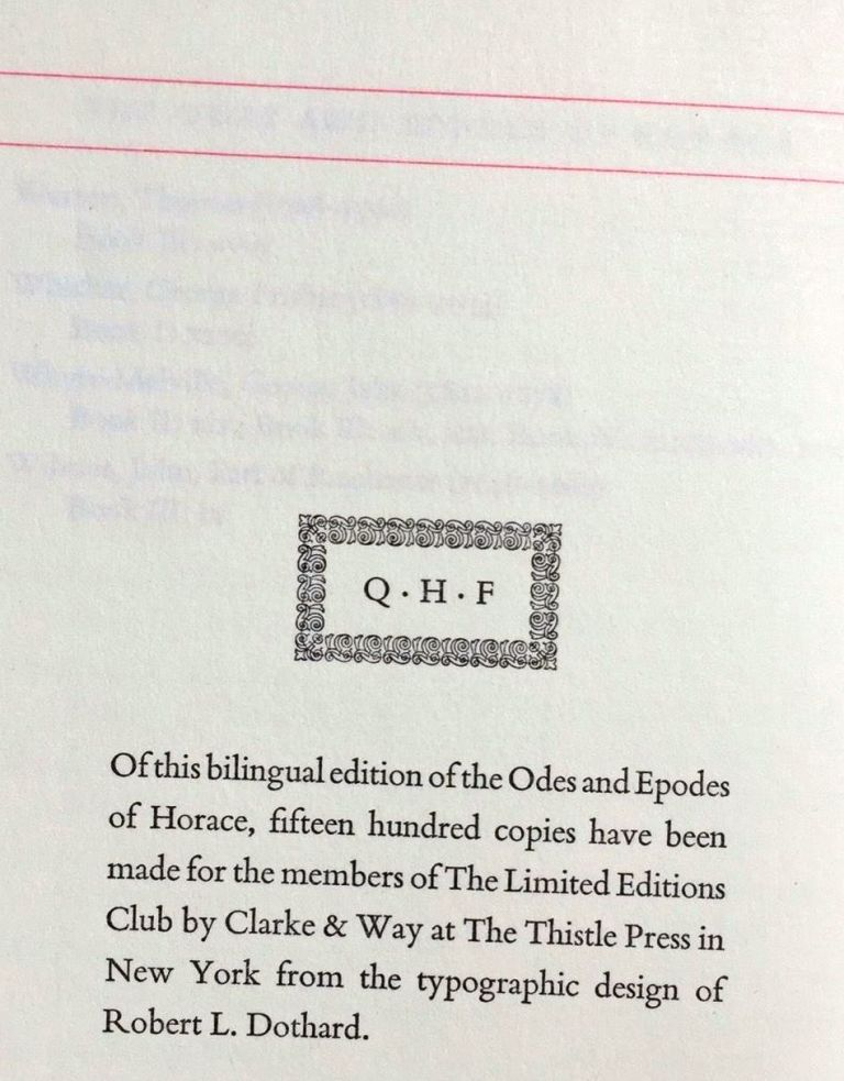 ODES AND EPODES OF HORACE. HORACE.