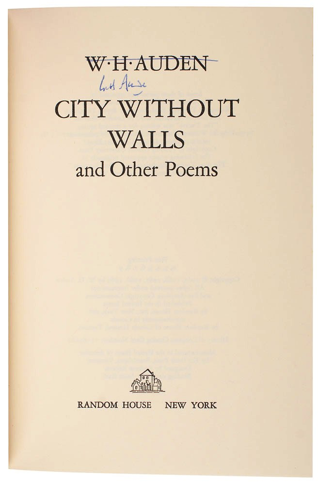 CITY WITHOUT WALLS AND OTHER POEMS. W. H. AUDEN.