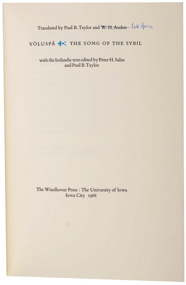 VOLUSPA: THE SONG OF THE SYBIL. W. H. AUDEN, Paul B. TAYLOR.
