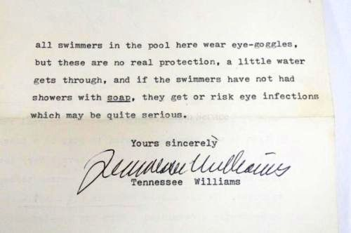 TYPED LETTER SIGNED (TLS). Tennessee WILLIAMS.
