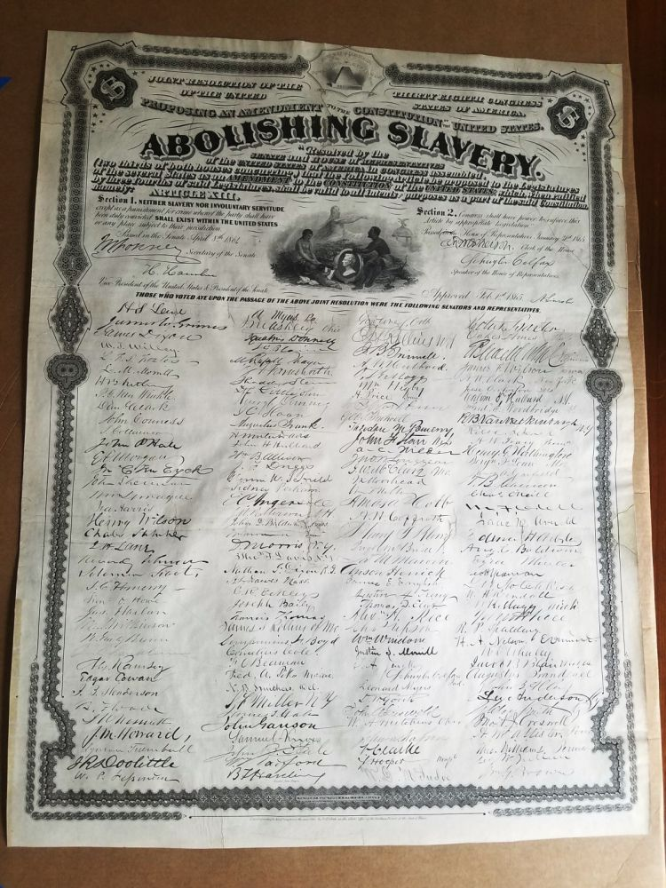 THIRTEENTH AMENDMENT. JOINT RESOLUTION OF THE THIRTY EIGHTH CONGRESS ... PROPOSING AN AMENDMENT TO THE CONSTITUTION ... ABOLISHING SLAVERY. RESOLVED. AFRICAN-AMERICANA, Abraham LINCOLN.
