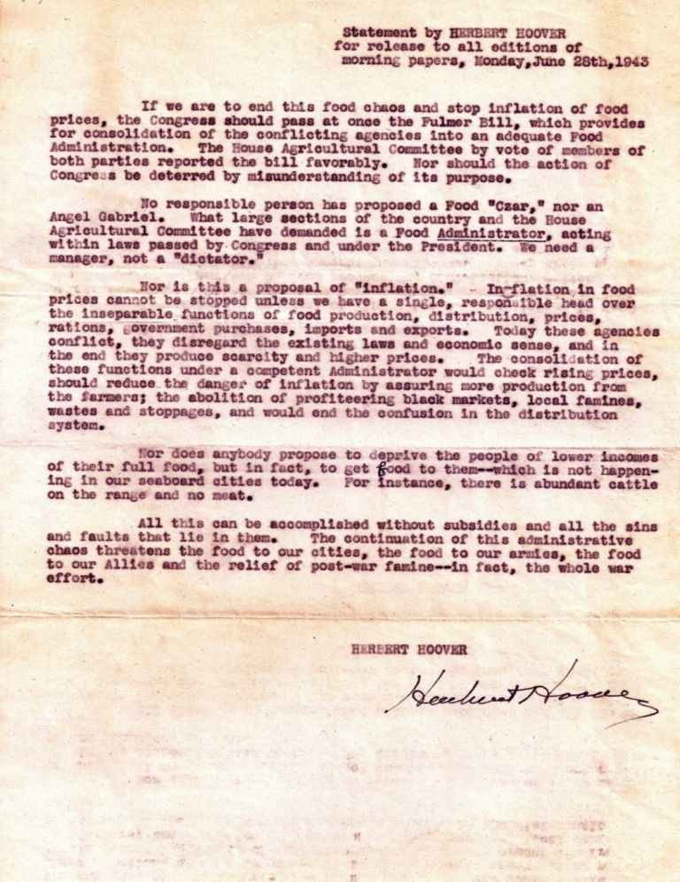 DOCUMENT SIGNED (DS): Statement by HERBERT HOOVER for release to all editions of morning papers. Herbert HOOVER.