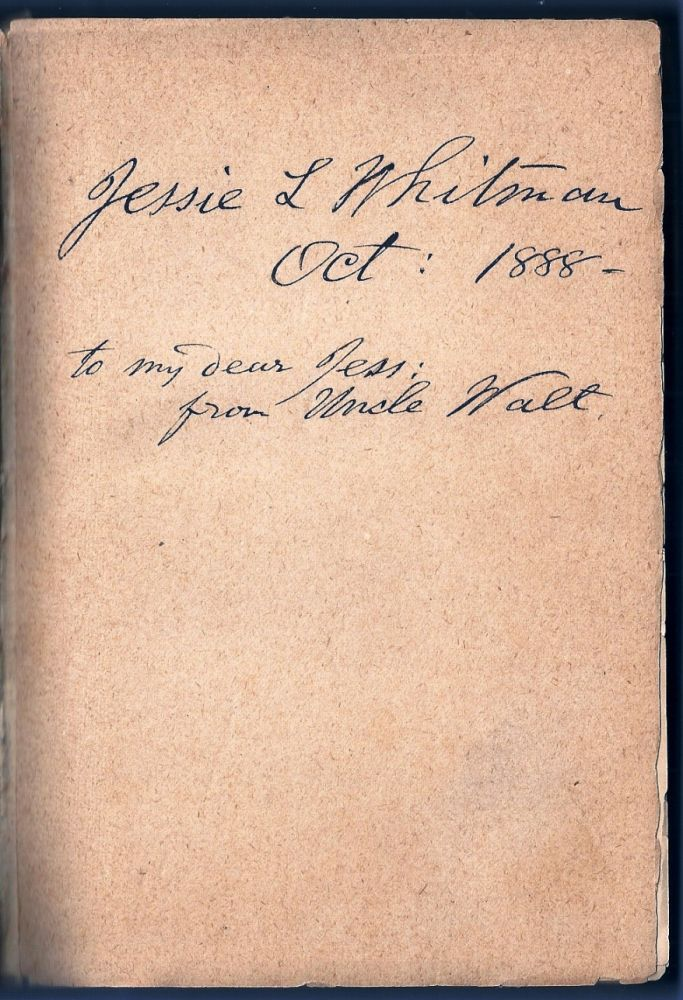 SPECIMEN DAYS IN AMERICA Inscribed by Whitman to his Niece. Walt WHITMAN.