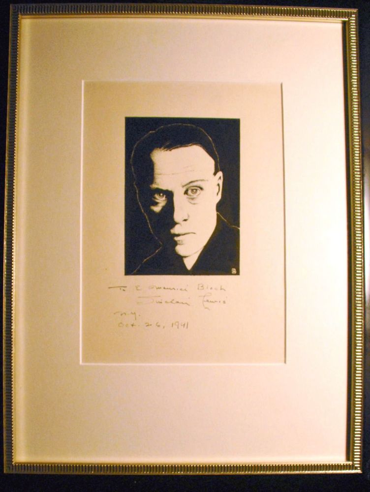 SIGNED ORIGINAL PEN-AND-INK OVER PENCIL DRAWING PORTRAIT OF LEWIS BY E. MAURICE BLOCH. Sinclair LEWIS.