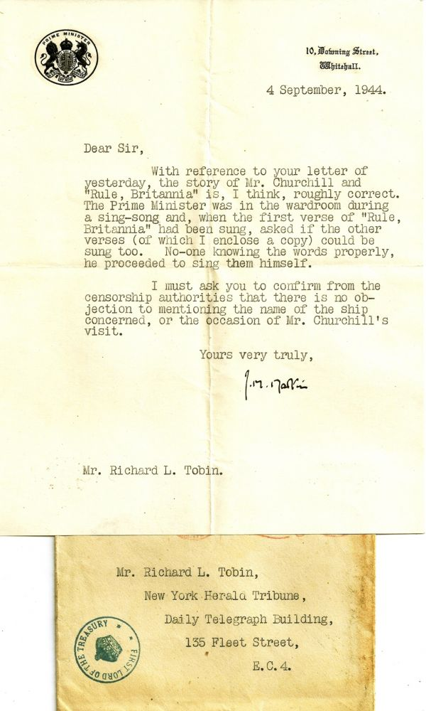 TYPED LETTER SIGNED (TLS) with a TYPED MANUSCRIPT. Winston CHURCHILL, John Miller MARTIN.