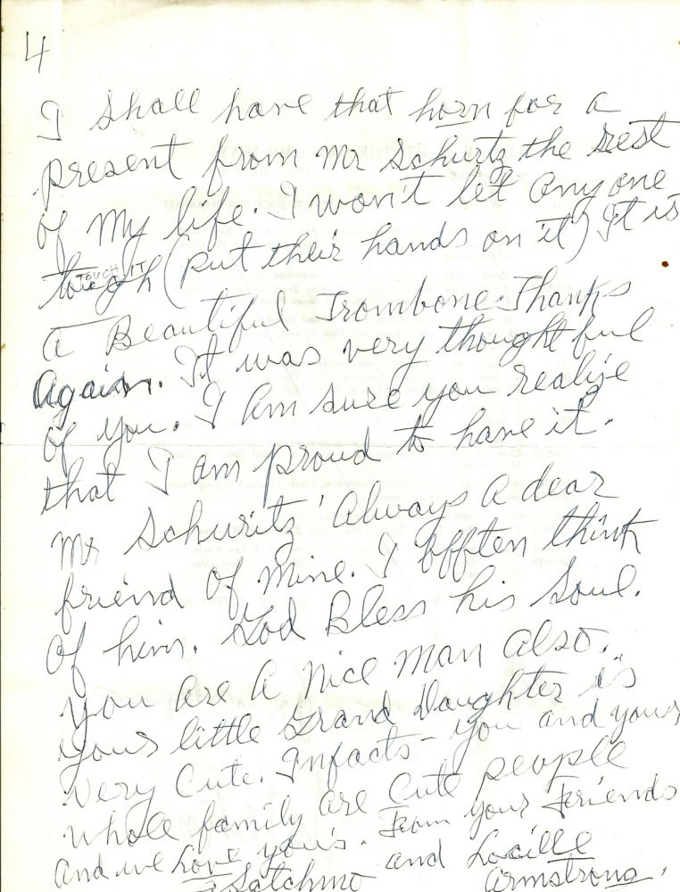 AUTOGRAPH LETTER SIGNED (ALS) of 4 pages. Louis ARMSTRONG.
