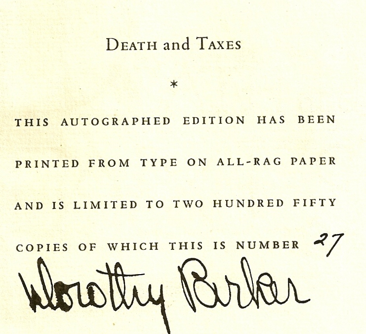 DEATH AND TAXES. Dorothy PARKER.
