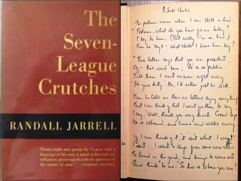 "THE SEVEN-LEAGUE CRUTCHES with a Complete MANUSCRIPT of His Famous Poem ""A Sick Child"" Randall JARRELL."