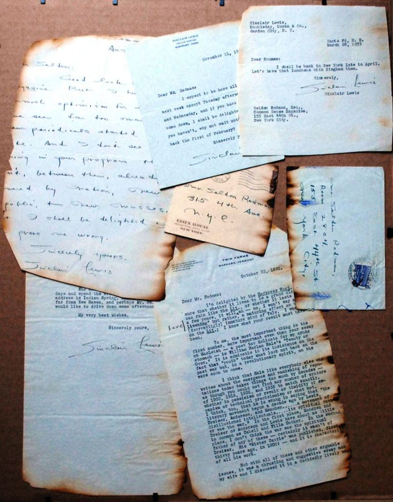 ARCHIVE of 3 TYPED LETTERS SIGNED (TLSs) and 1 AUTOGRAPHED LETTER SIGNED (ALS) to critic Selden Rodman. Sinclair LEWIS.