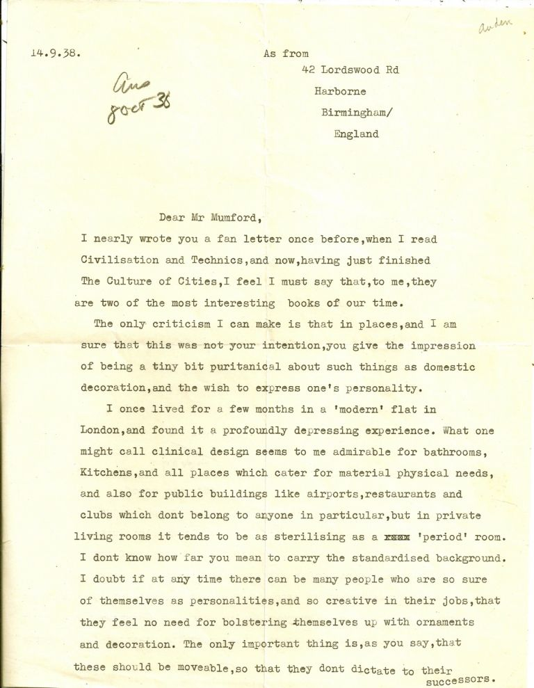 TYPED LETTER SIGNED (TLS) to Lewis Mumford; Auden Writes a Fan Letter to Lewis Mumford. W. H. AUDEN.