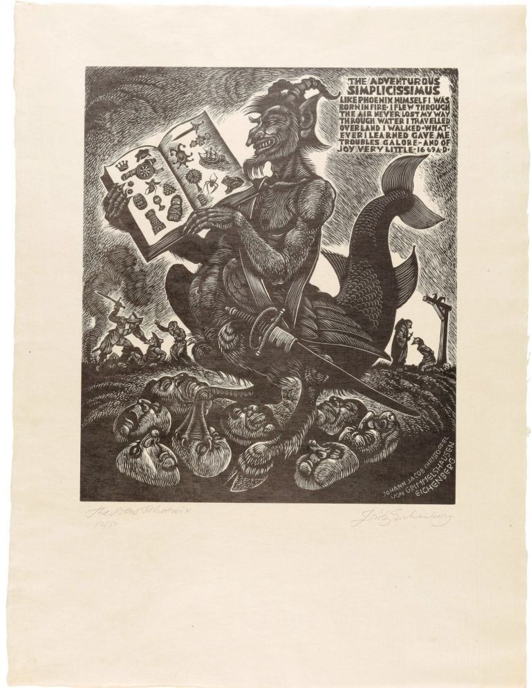THE ADVENTURES OF SIMPLICISSIMUS: Portfolio of 36 SIGNED Prints; Printed from the Original Wood Blocks Signed and Numbered by the Artist, as a Unique Offering for Print Collectors and Members of the Limited Editions Club. Fritz EICHENBERG.