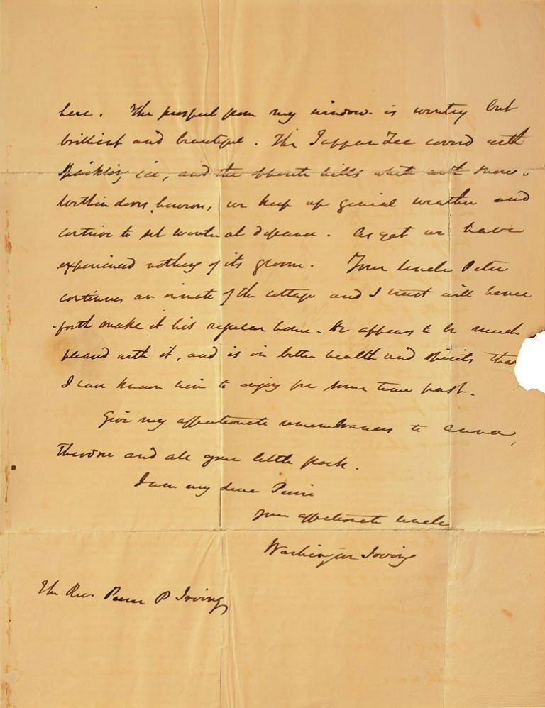 AUTOGRAPH LETTER SIGNED (ALS) to his Nephew. Washington IRVING.