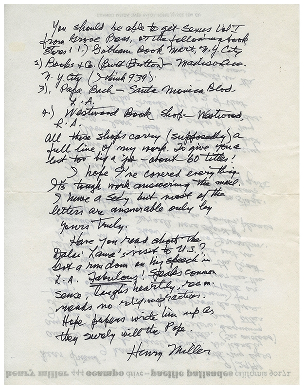 ARCHIVE OF 3 AUTOGRAPH LETTERS SIGNED (ALSs). Henry MILLER.