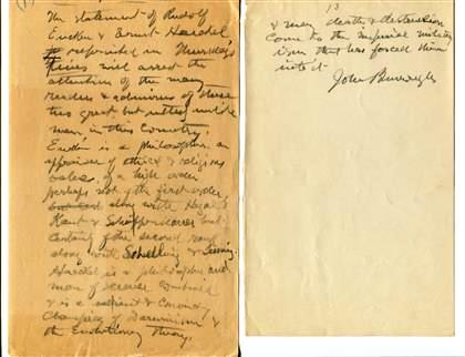 """AUTOGRAPH MANUSCRIPT SIGNED (AMS): """"Germany's True Greatness"""" with a TYPED LETTER SIGNED (TLS). John BURROUGHS."""