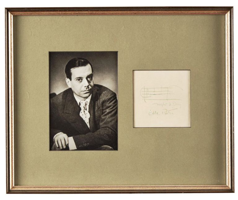 SIGNED MUSICAL QUOTATION from NIGHT AND DAY matted with a PHOTOGRAPH. Cole PORTER.