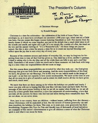 DOCUMENT SIGNED (DS): A CHRISTMAS MESSAGE. Ronald REAGAN