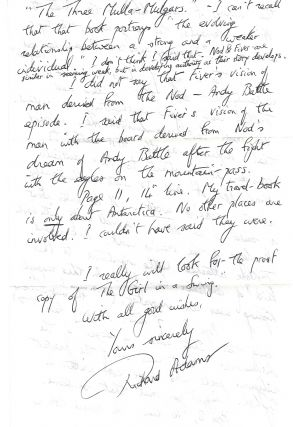AUTOGRAPHED LETTER SIGNED (ALS) with archive of related materials. Richard ADAMS