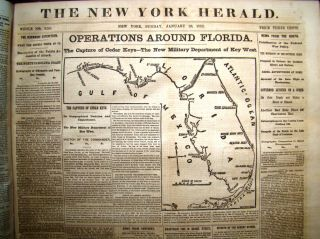 NEW YORK HERALD: Bound volume of 120 issues from 1 January 1862 to 30 April 1862 with much war...