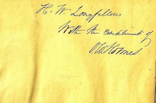 ASTRAEA Inscribed by Holmes to Longfellow. Oliver Wendell HOLMES, Henry Wadsworth LONGFELLOW