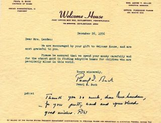 TYPED LETTER SIGNED (TLS). Pearl BUCK