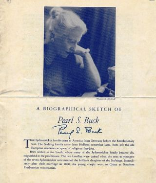DOCUMENT SIGNED (DS). Pearl BUCK