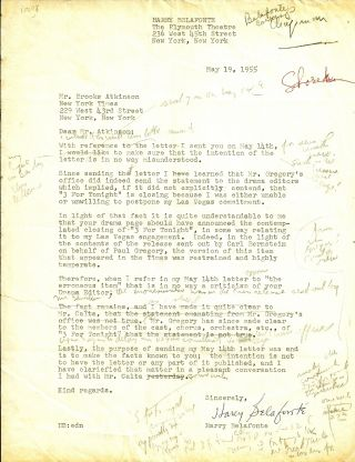 TYPED LETTER SIGNED. Harry BELAFONTE