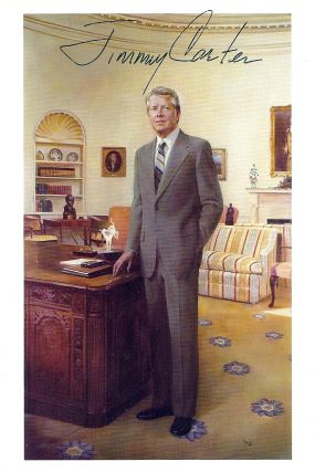 SIGNED POSTCARD PORTRAIT. Jimmy CARTER