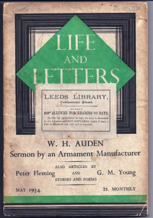 """Sermon by an Armament Manufacturer"" in LIFE AND LETTERS. W. H. AUDEN"