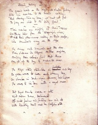 "AUTOGRAPH MANUSCRIPT POEM (Juvenilia - 4 pages): ""Bank Holiday"" W. H. AUDEN"